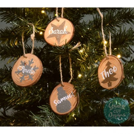Personalised Wood Slice Christmas Tree Decoration – Set of 4