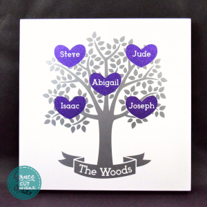 Personalised Family Tree Wall Art on White