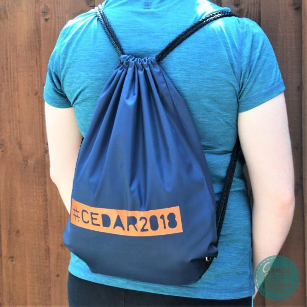 Personalised Drawstring Bags - Orange on Navy