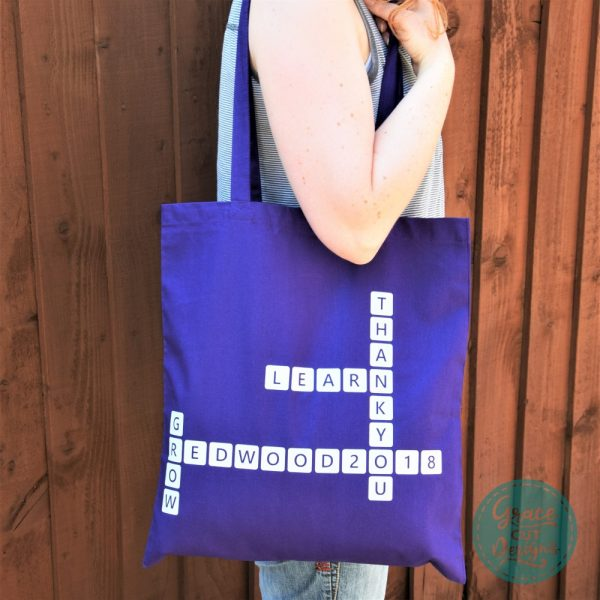 Crossword Tote Bags - White on Purple