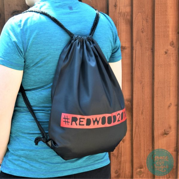 Personalised Drawstring Bags - Red on Black
