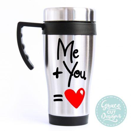 Me Plus You Equals Heart Travel Mug