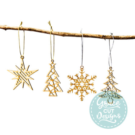 Christmas Trees, Star and Snowflake Wood Decorations – Set of 4