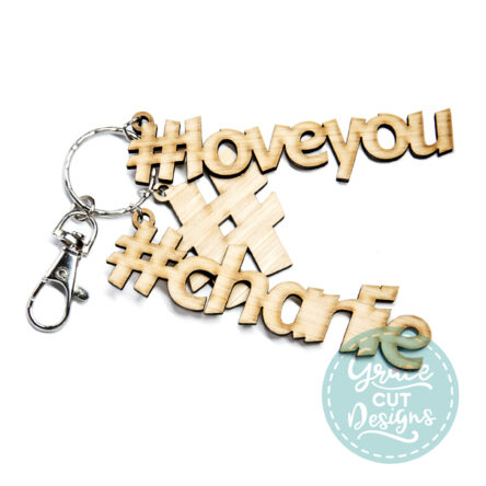 Hashtag Love You with Names Keyring