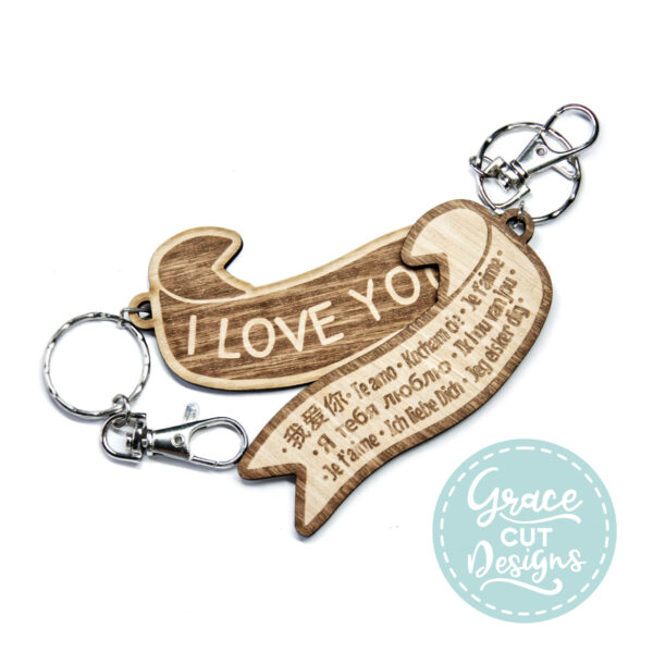 I love you in different languages keyring